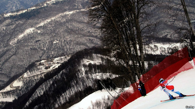Laura Gut skiing during the Women」s World Cup Downhill Ski training session.