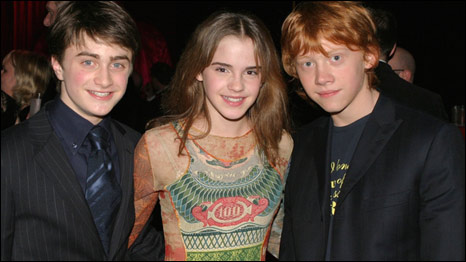 Actors Daniel Radcliffe, Emma Watson and Rupert Grint from the Harry Potter films