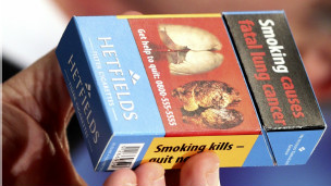 A health warning in a cigarette packet