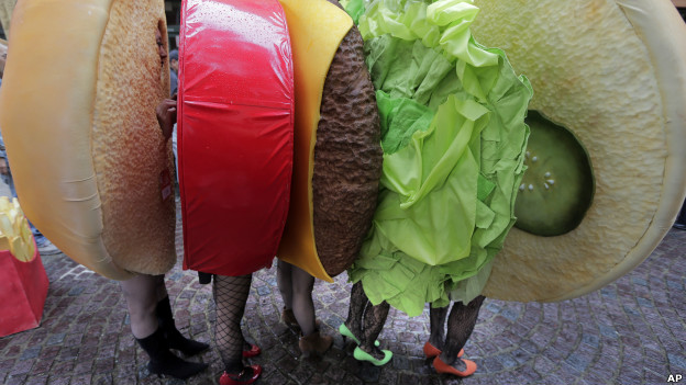 A group of youngsters, dressed up as a sandwich, in a fancy dress march during a Halloween event in Kawasaki, near Tokyo.