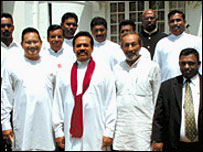 Bharatha Lakshman Premachandra (L) with President Rajapaksa (C) and Minister Vasudeva Nanayakkara (file photo: Daily News)