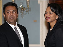 FM Samaraweera with US Secretary of State Condoleezza Rice