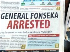 A newspaper reporting the arrest of Gen Fonseka (file photo)