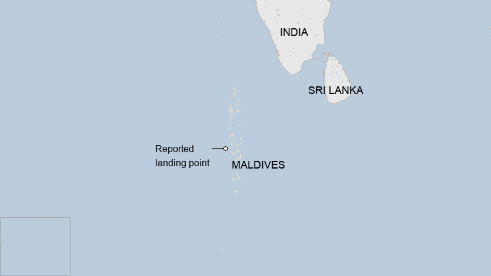 Map: Image shows the approximate landing point of the rocket