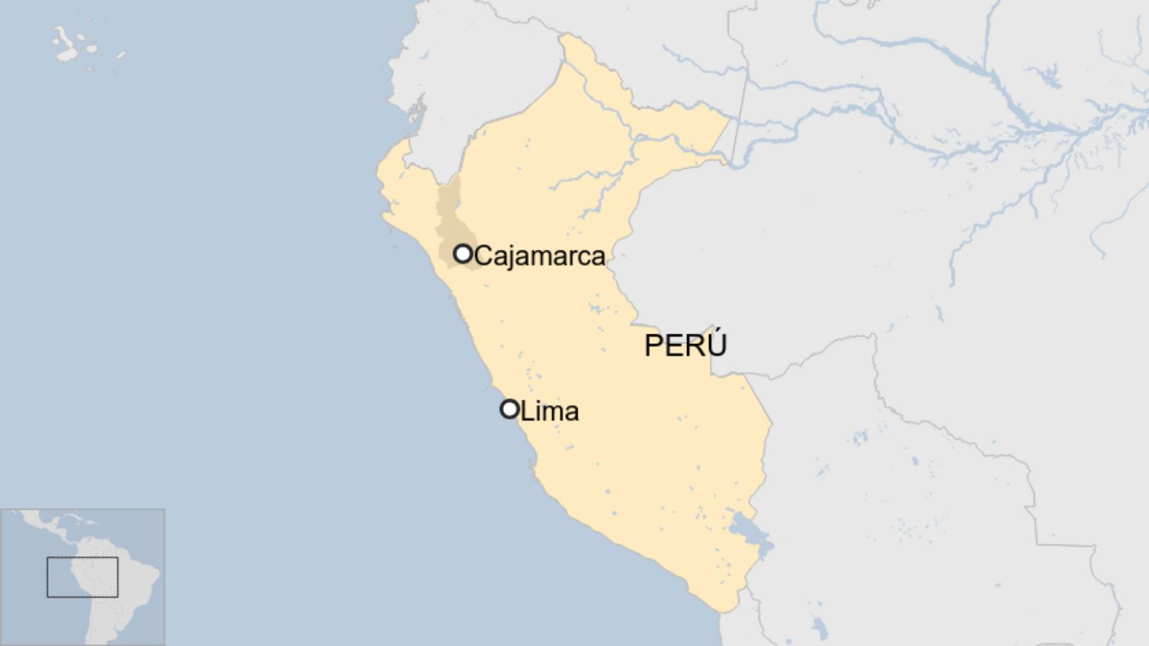 Map: Ubicación de Cajamarca, Perú