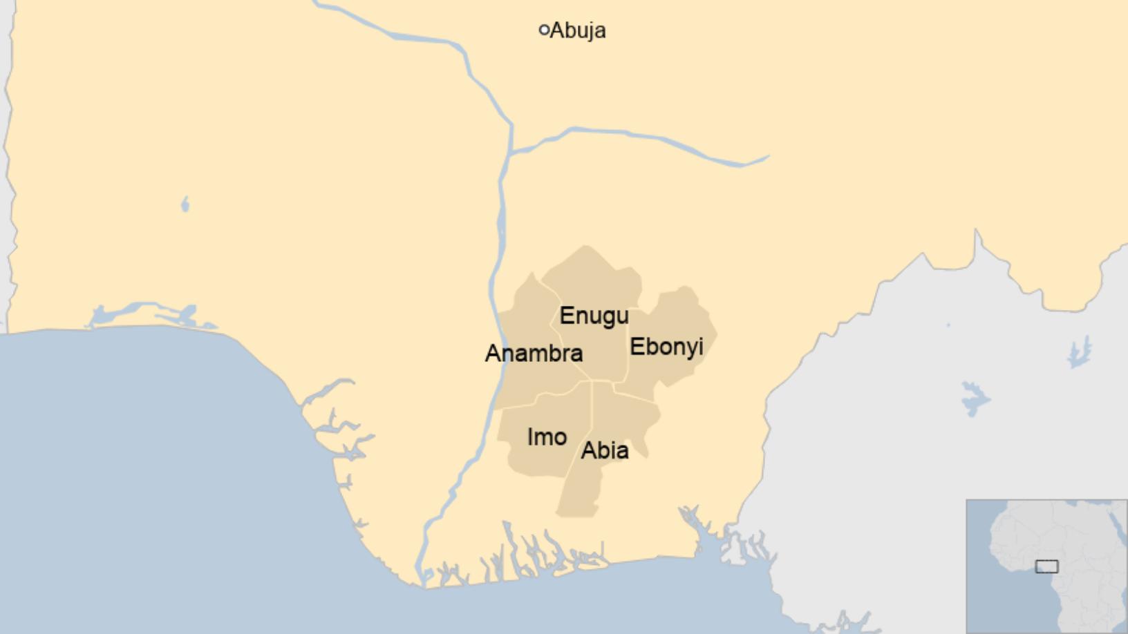 Map: Nigeria Igbo states