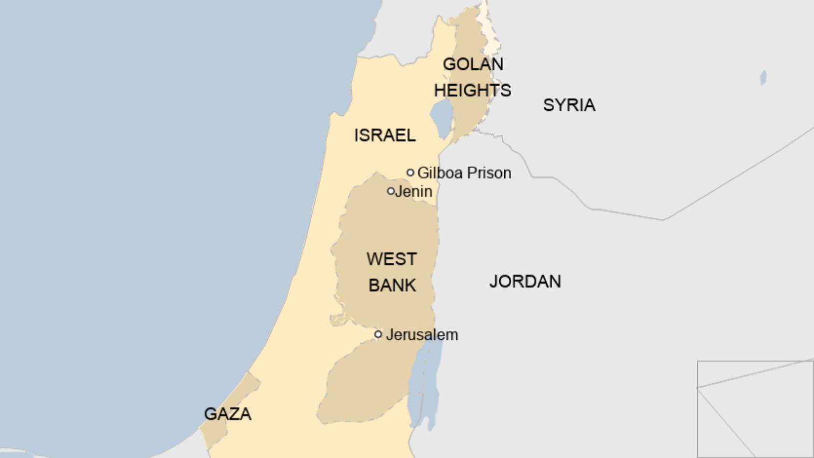 Map: Gilboa Prison in Israel