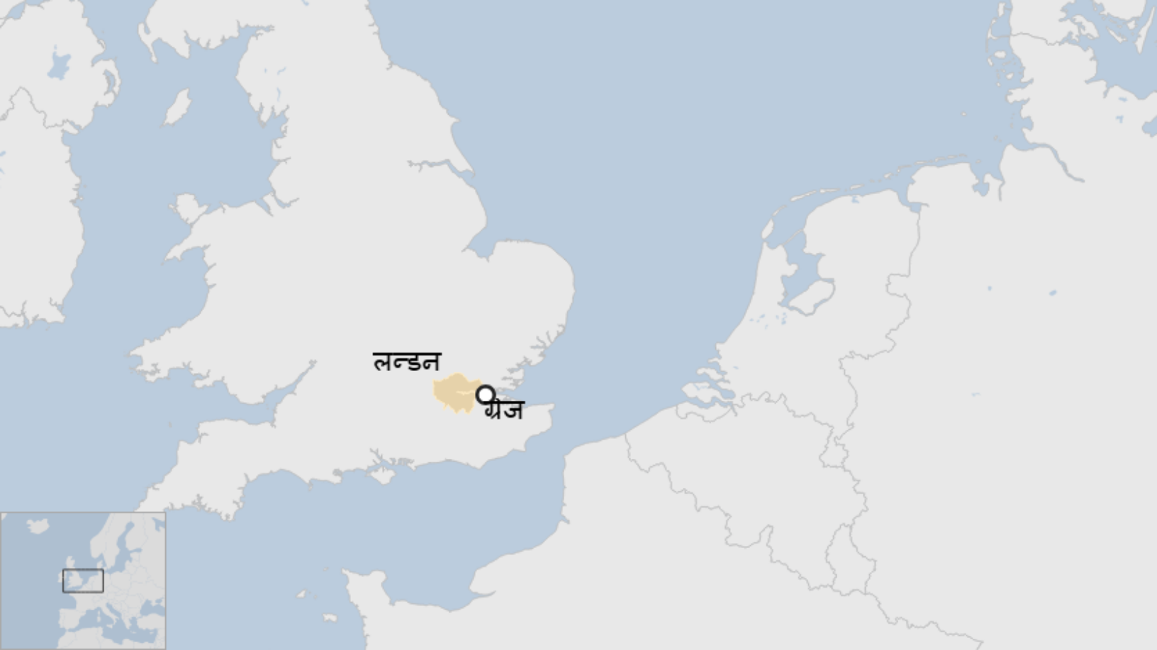 Map: Grays in Essex compared with London