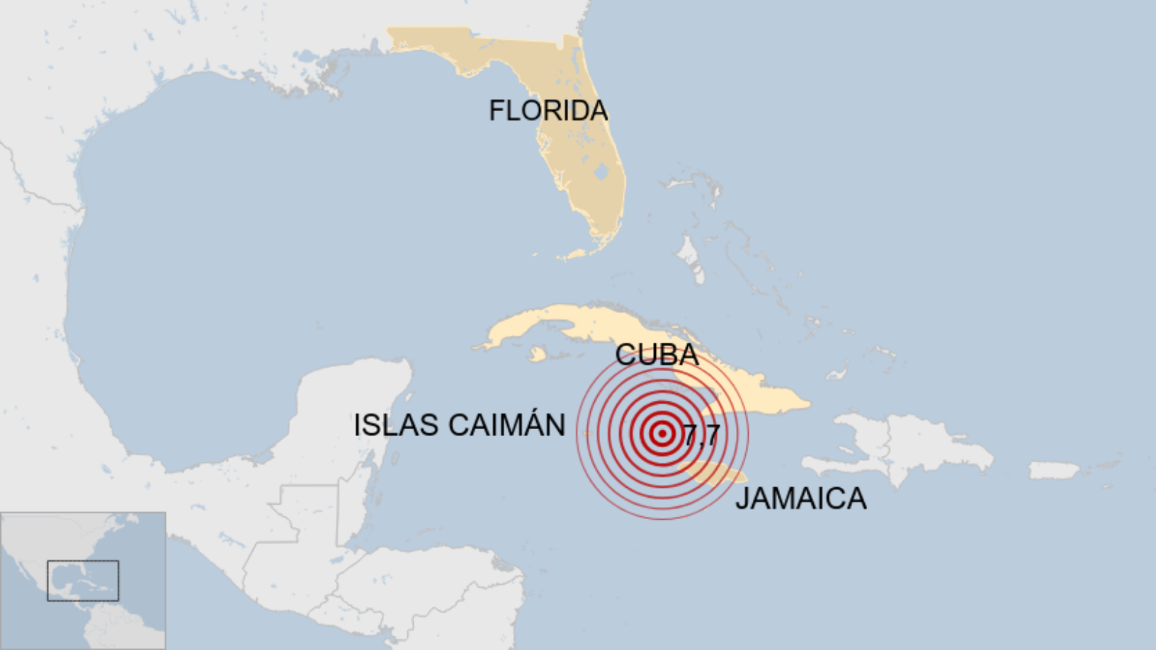 Map: Terremoto de 7,7 frente a Cuba y Jamaica.