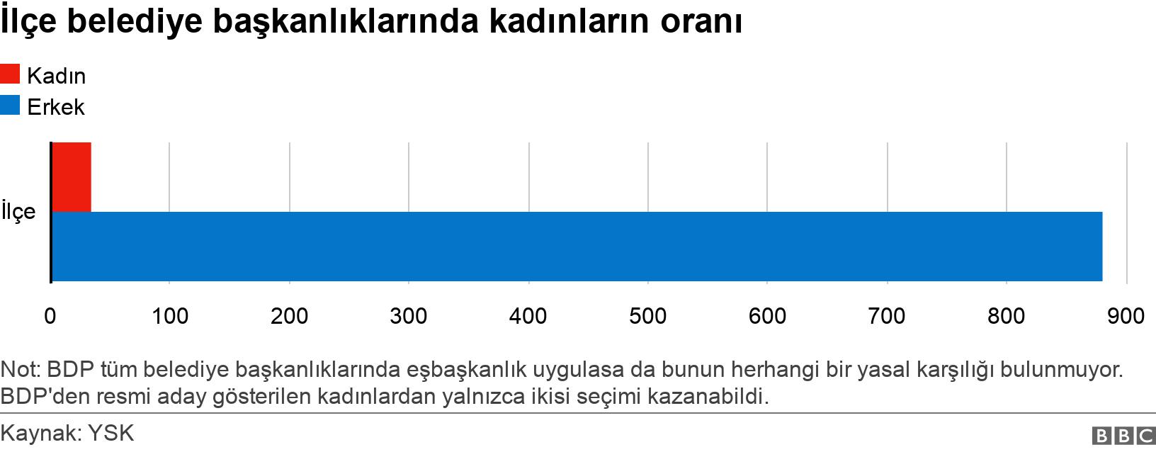 İlçe belediye başkanlıklarında kadınların oranı. .  Not: BDP tüm belediye başkanlıklarında eşbaşkanlık uygulasa da bunun herhangi bir yasal karşılığı bulunmuyor. BDP'den resmi aday gösterilen kadınlardan yalnızca ikisi seçimi kazanabildi..