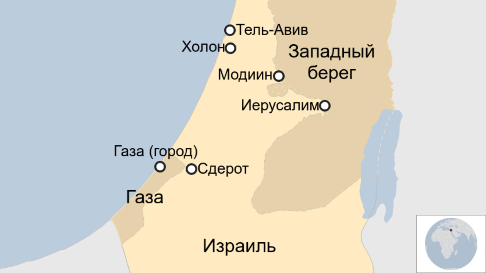 Map: карта Израиля и Газы