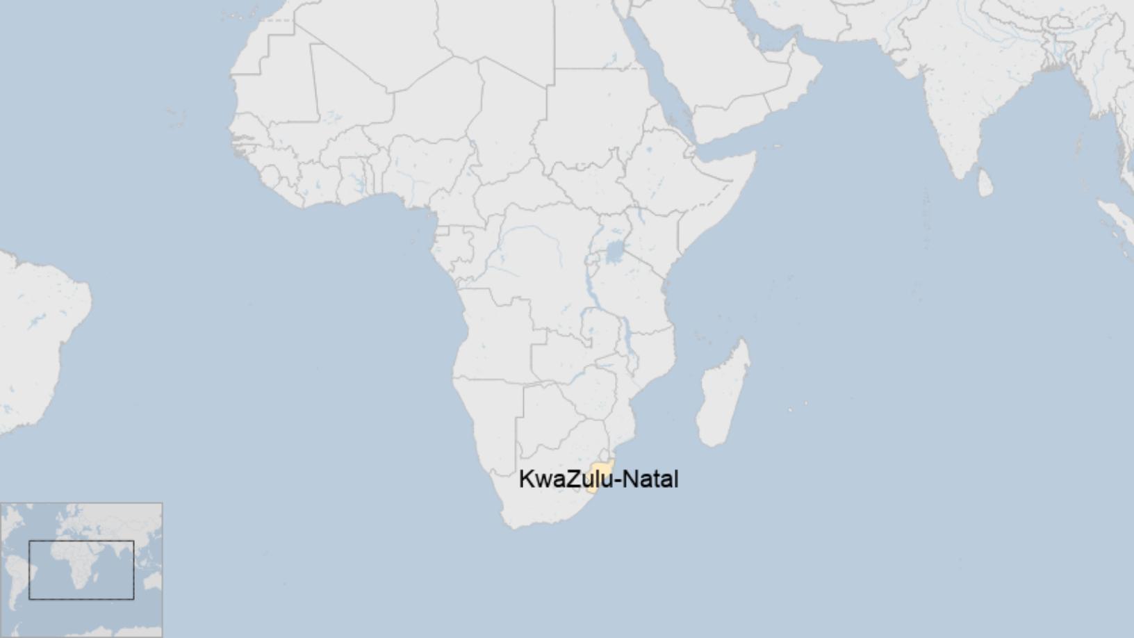 Map: Territorio zulú en Sudáfrica